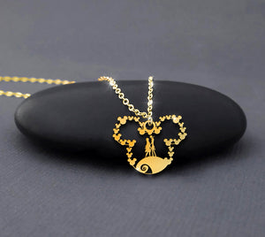 Nightmare gold necklace mickey jack and Sally Gold plated 14K