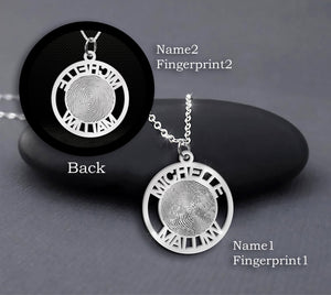 Personalized Couple Fingerprints Necklace Custom Couple Names Necklace Sterling Silver