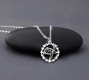 Save The Turtle In Circle MK Necklace