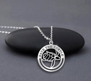 Save The Turtle In Circle Necklace