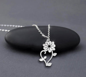 Sterling Silver Flower Pendant Handmade Flower Necklace For Women Valentine's Day Gift Mother's Day Gift
