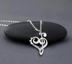 Sterling Silver Personalized Name Music Note Necklace for Women Gift for musician Teacher Pianist Guitarist