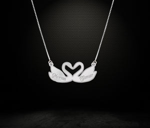 Swan Couple Necklace Custom Couple Name Necklace Sterling Silver