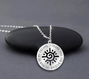 Thank You My Sun- Father Daughter Silver Necklace