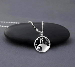 ZALOKI The Nightmare Before Christmas In Circle Necklace Halloween Gift Christmas Gift