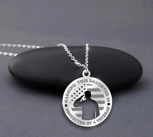 This Daughter Is Protected By A Veteran - Father Daughter Necklace
