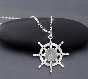 Turtle and Ship Steering Wheel 925 Sterling Silver Necklace