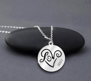 ZALOKI Custom Couple Names Necklace I Love You Necklace Sterling Silver 2 Initial Necklace Dainty Heart Necklace