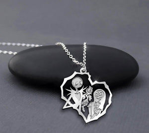 ZALOKI Disney Nightmare Before Christmas Necklace Jack Skellington & Sally Heart Sterling Silver