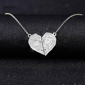 ZALOKI Jack and Sally Nightmare Before Christmas Stitched Heart Necklace Sterling Silver Love Necklace