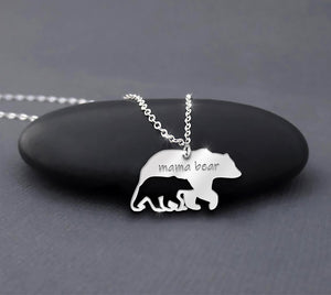 ZALOKI Mama Bear Necklace 925 Sterling Silver Cut-out Design Ideal Gifts for Mom Grandma
