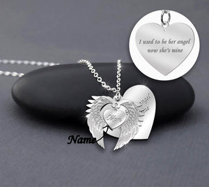 ZALOKI Personalized Angel Wings Memorial Necklace Sterling Silver Pendant Unique Jewelry Memories Spiritual Eternity