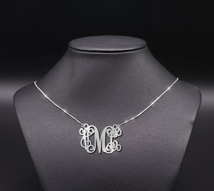 ZALOKI Personalized Monogram Initial Necklace Sterling Silver