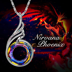 Trendy Silver Nirvana of Phoenix Pendant Necklace for Women Made with Magic Crystal 2 Color Blue Yellow
