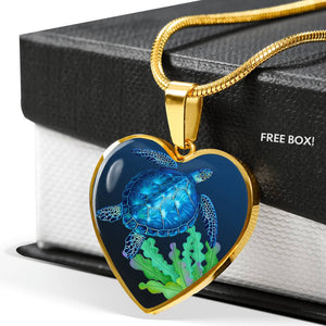 Sea Turtle Luxury Necklace 3D Heart
