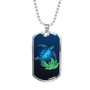 Sea Turtle Luxury Necklace 3D - Luxury Dog Tag Military Ball Chain