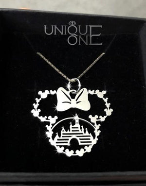Minnie Cartoon Castle Handmade Sterling Silver Necklace