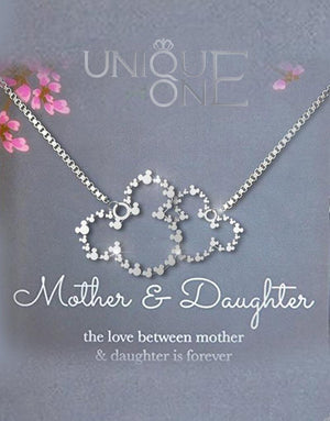 Mother Daughter Necklace - Sterling Silver Two Interlocking Infinity