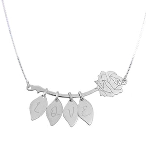 ZALOKI Love Necklace Sterling Silver Rose Necklace With Leaves Valentine's Day Gift For Girlfriend Wife Gift For Mom