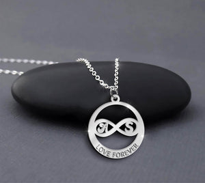 Custom Infinity Necklace Sterling Silver Infinity Initials Necklace Personalized Initials Necklace