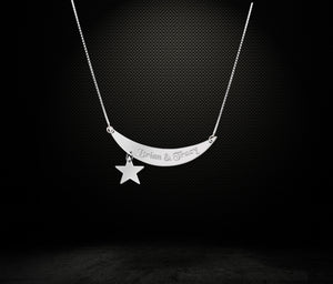 ZALOKI Custom Couple Names Sterling Silver Necklace Custom Love Necklace Crescent Moon And Star Hanging Necklace