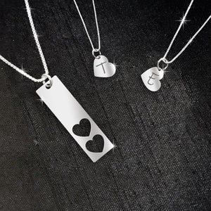ZALOKI Custom Initial Mother And Daughter Necklace Sterling Silver Bar Necklace 2 Hearts Cut-out Mom Gift