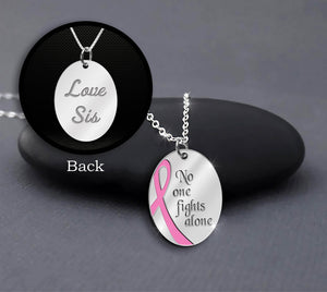 No One Fights Alone Necklace Sterling Silver Custom Name Breast Cancer Awareness Necklace Gift For Cancer Survivor