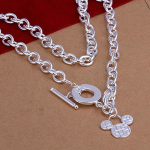 925 silver jewelry Necklace mickey pendants Chains