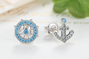 100% 925 Sterling Silver Anchor & Rudder Blue Crystals Stud Earrings