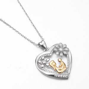 Real 925 Sterling Silver Gold Color Mom Hold Baby in Crystal Heart