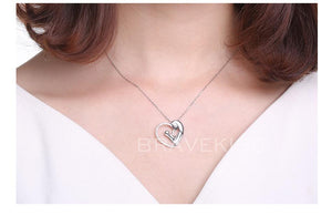 925 Sterling Silver Pendant Chain Mom Heart Hollow