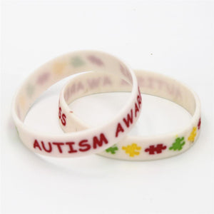 1PC White Autism Awareness Silicone Bracelets Medical alert Wristband