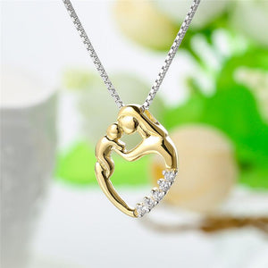 925 Sterling Silver Mom Chains Necklaces Gold Golor Mother Daughter Son Child Family