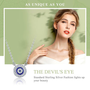 100% 925 Sterling Silver Blue Eye Clear CZ Necklace