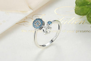 925 Sterling Silver Blue Crystal Anchor & Rudder Finger Ring