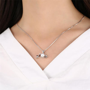 925 Sterling Silver Necklace Nature Freshwater Pearl & Mom Letter