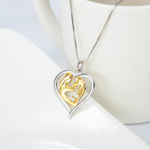 925 Sterling Silver Gold Color Mom Hold Baby Family Heart