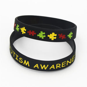 1PC Black Autism Awareness Puzzle Silicone Wristband Medical alert