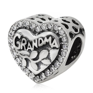 Mother's Gift Grandma Heart Shape Charm 100% 925 Sterling Silver Beads fit