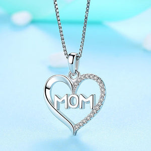 100% 925 Sterling Silver Heart Mom Pendant Necklace Mom in Heart