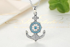 100% 925 Sterling Silver Crystal Anchor & Rudder Pendants Boat Helm