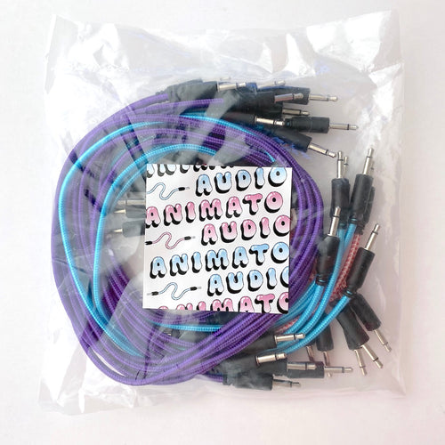 Animato Audio Braided Patch Cables (Set of 15 in red 10 cm, blue 30 cm, purple 60 cm)