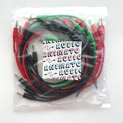 Animato Audio Patch Cables (Set of 15 in green 10 cm, red 30 cm, black 60 cm)