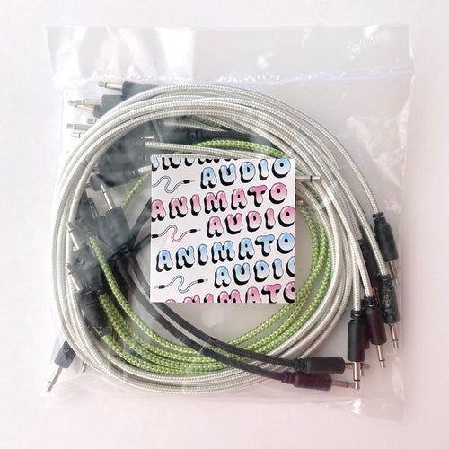 Animato Audio Braided Patch Cables (Set of 15 in black 10 cm, green 30 cm, white 60 cm)
