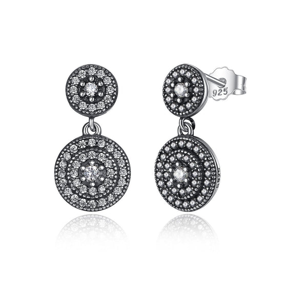 CZ Crystals Surrounded Drop Earrings