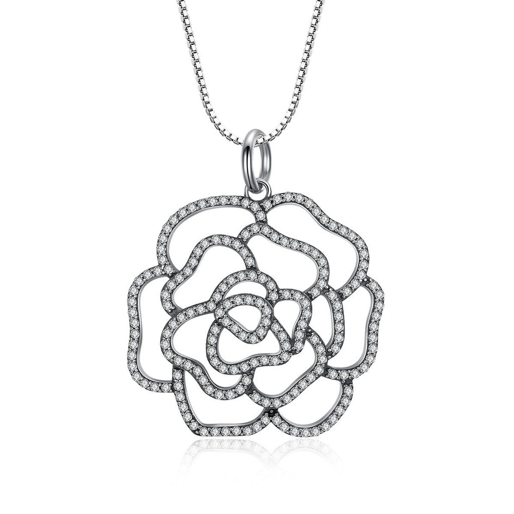 Shimmering Rose Pendant Necklace