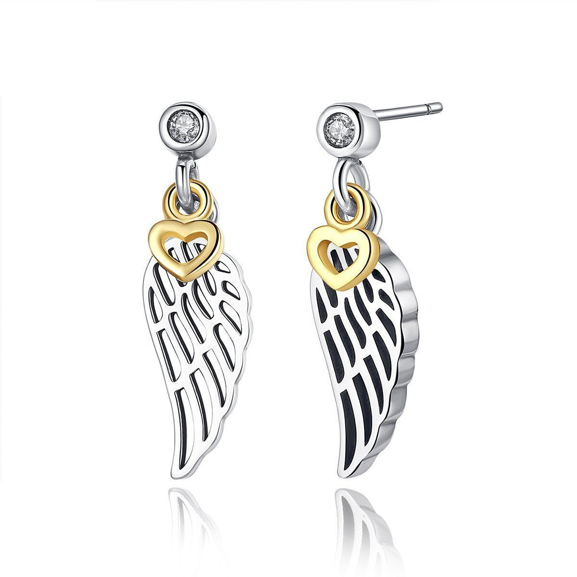 Silver-plated Feather Wing Heart Drop Earrings