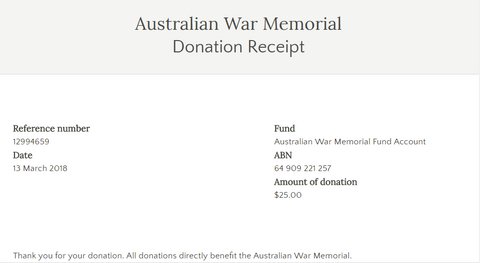 Donation to the Australian War Memorial
