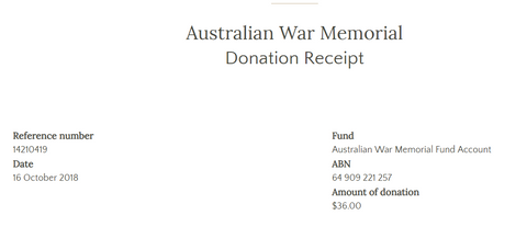 October Donation to War Memorial