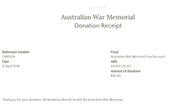 Australian War Memorial April 2018 Donation